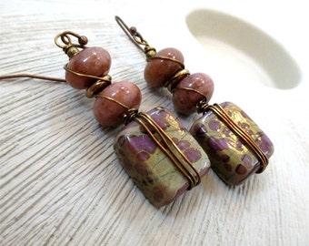 Dangle Earrings, Handmade Earrings, Rustic Earrings, Ceramic Earrings, Stone Earrings, Wire Wrapped Jewelry, Beaded Earrings, Gift for Her