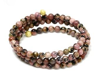 Natural rhodonite bracelet rhodonite gemstone bracelet healing crystal 1067