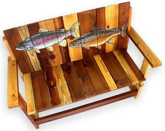 Fish Bench, Trout Bench, Lake House Furniture, Angler's bench, Fisherman Bench, Nautical Décor, Nautical Design, Cabin Furniture, Porch