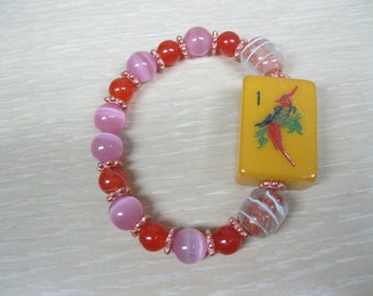 Mahjong beaded bracelet