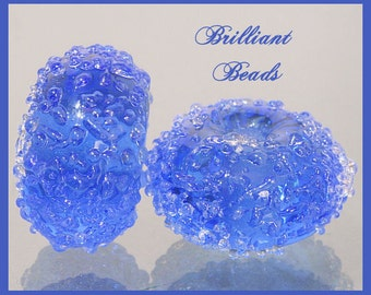 Ocean Blue Sugared Glass Bead Pair - Handmade Lampwork Beads SRA, Made To Order