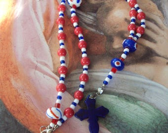 Protestant Prayer Bead Necklace - Red, White and Blue