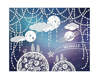 Personalized Print - 5x7 - Customized with Your Name - Outer Space