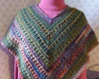 poncho crocheted short acrylic