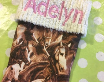 Horses and Chenille Handmade Christmas Stocking with FREE U S SHIPPING