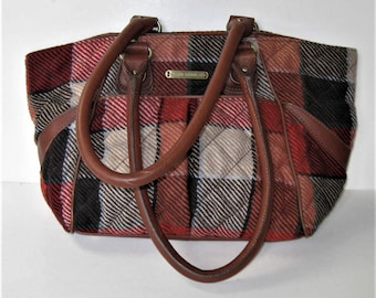 """Vintage Vera Bradley leather and plaid flannel shoulder handbag, 15"""" x 9"""", red and black tweed, Winter, Women's Accessory, gift idea"""