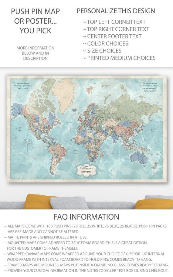 Map world countries labeled world travel push pin map of the like this item gumiabroncs Gallery