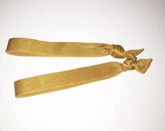 Two Gold Elastic Hair Tie Bands