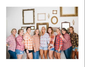 BRIDESMAID FLANNEL, custom wedding party group flannels, bridesmaid gifts, wedding flannel, getting ready flannels, bridesmaid plaid shirts