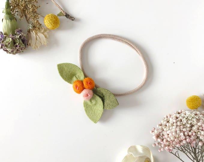 Newborn Flower Headband, Felt Flowers, Tangerine Rose Buds, giddyupandgrow