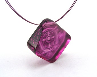 Pink Necklace diamond shape, Victorian Tile Pattern handmade pendant