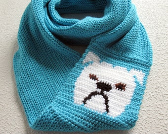 Bulldog Infinity scarf. Turquoise blue knit scarf with English bulldogs. Long cowl scarf. Bulldog gift