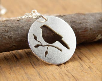 Silver bird necklace, robin necklace, sterling silver robin pendant, tiny bird necklace, hand-cut silver bird necklace.