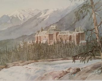 "Vintage Framed Art Reproduction of Watercolor of Banff Springs Hotel Canadian Rockies by Marilyn Kinsella 1991 Embellished Matting 14"" x 11"""