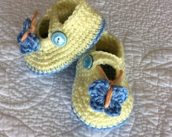 Yellow & Blue Butterfly Booties