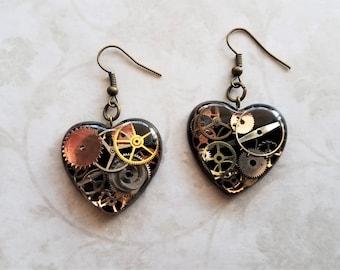 Clockwork heart gear and resin earrings