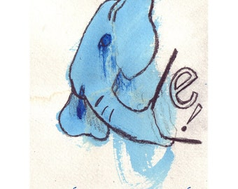 E is for Elephant - Mixed Media OOAK Drawing