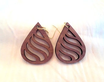 Wood Earrings (African Mahogany) Fishhook Earrings