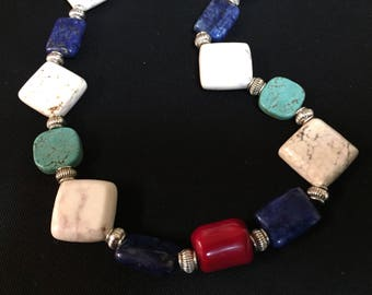 Coral, lapis and turquoise necklace.