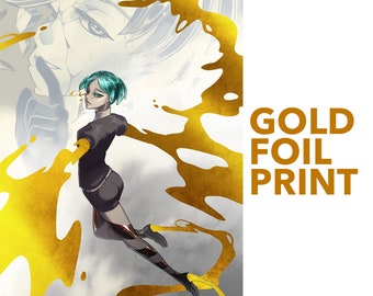 Phos and Antarcticite GOLD FOIL Houseki no Kuni / Land of the Lustrous poster print