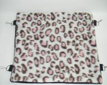 Pet Hammock, Leopard Print Fleece, Black Fleece Tabs, Reversible Hammock, Rabbit, Chinchilla, Rat Bed