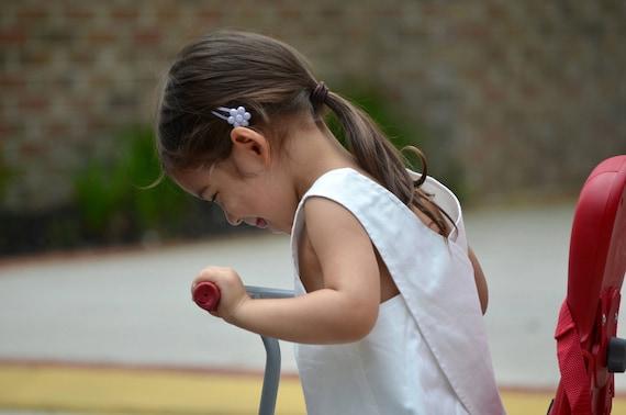 Summer Kids Top - Kids Smock Top - Girls White Shirt - Size 3T Clothes - Reversible Shirt -  Kid's Back to School - Kids Apron Shirt