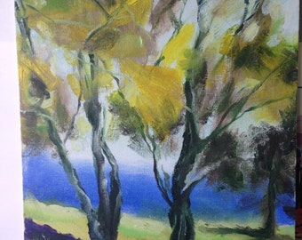Cotton trees , oil painting on canvas board