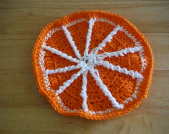 Crochet Orange Slice Dishcloth // Fruit Dishcloth // Christmas Gift // Kitchen Decor // Birthday Gift // Food Dishcloth // Home Decor