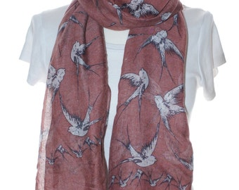 WIne swallow bird Scarf shawl, Beach Wrap, Cowl Scarf,swallow bird print scarf, cotton scarf, gifts for her