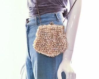 Vintage 1920s Goldtone Mixed Iridescent Jewels Crossbody Bag Pearls Sequins Purse Goldtone Bag
