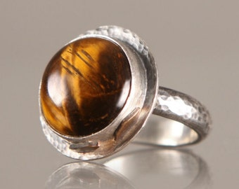 Tigerseye Stone Ring Petals Sterling Silver Cocktail