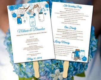 Wedding Fan Template Mason Jar Program - Printable Program DIY Wedding Program Fan Program Template Wedding Program Fan DIY Ceremony Program