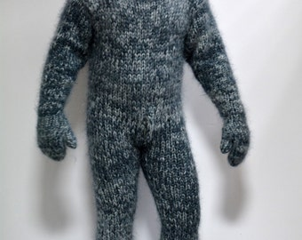 Hand Knit Mohair Catsuite Sweater Massive Mix Gray Fuzzy Hooded Integrated Mittens Jumper 10 strands MADE to ORDER - by Extravagantza