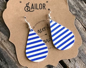 Sailor Striped faux leather earrings