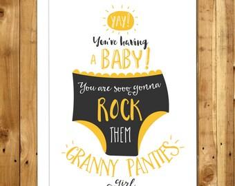 Funny Pregnancy Card - Pregnancy congratulations - Baby Congratulations - New Mom - Expecting Mom - Granny Panties 088
