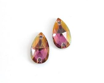 small Swarovski crystal pear crystal in crystal lilac shadow 3230 - Sew On - 12x7mm