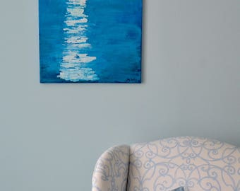 Original Painting of a Bright Full Moon Over the Water