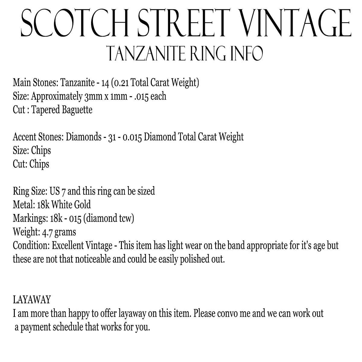 Vintage Tanzanite Ring Diamond Accents 18k White Gold Estate