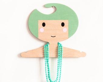 Minty Green Kids' Wooden Clothes Hanger - Girls Face Design