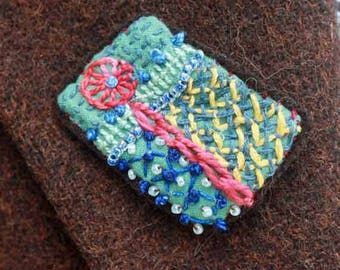 Crazy Quilt Hand Embroidered OOAK Pin Brooch