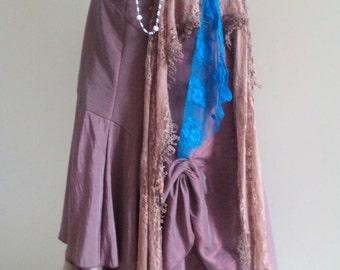 upcycled skirt, ruffle skirt, drawstring skirt, romantic skirt,  embroidered skirt, long brown skirt, pirate wench