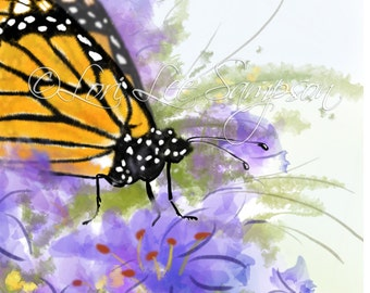 Butterfly Clipart | Digital Download | Small Print | Monarch Butterfly in Garden of Purple Flowers | Garden Decor