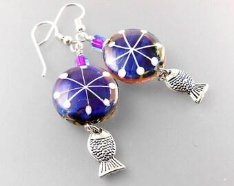 The Rune of Sudden Change Earrings - Handmade Lampwork Beads - Artisan - Jane Harter - Purple - Sterling Silver