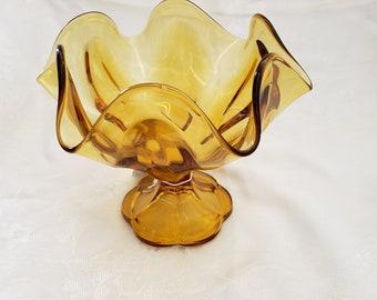 Vintage Amber Crimped Edge Glass Pedestal Bowl