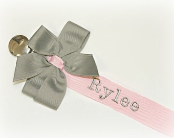 Pacifiers clips etsy pacifier clip personalized pacifier clip pink gray baby girl personalized soothie clip nuk paci clip newborn baby gift negle Image collections