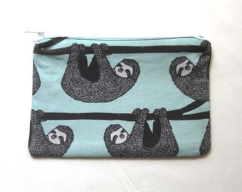 Sloths on Mint Fabric Coin Purse/Zipper Pouch/Gift Card Envelope Bag