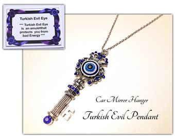 Turkish Evil Eye Pendant. Rear View Car Mirror Charm. Key Pendant. New Car Gift. God Luck Gift. #K-C43