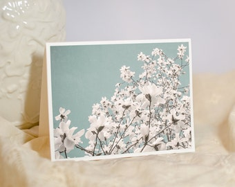Magnolia Photo Notecard -  Floral Greeting Card - Blue Sky Magnolia Tree - White Flowers - Flower Birthday Card - Blank or Personalised Card