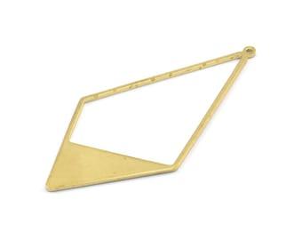 Brass Diamond Charm, 6 Raw Brass Diamond Charms With 1 Loop, Pendants, Findings (56x27.5mm) E017