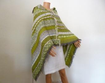Poncho - cape, mustard scarf cheich, gift, wool
